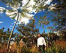 Levi Cerqueira às margens da Lagoa Vitória, em meio à vegetação que ajudou a recuperar