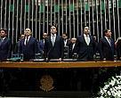 Novos presidentes da Câmara e Senado tomam posse no Congresso