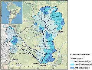 Áreas que mais contribuem com água para a Bacia do rio Paraguai