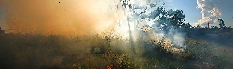 Fumaça sobe de fogo na Amazônia, do lado da estrada Interoceânica. / ©: Brent Stirton / Getty Images / WWF
