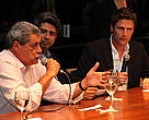 The governor  of Mato Grosso do Sul State, André Puccinelli (left) with   Leonardo Barros, president of the ABPO and the representative of the Slow Food, during the celebration dinner.