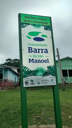 Uma das placas doadas pelo WWF-Brasil à pequena comunidade existente entre o Amazonas e o Mato Grosso