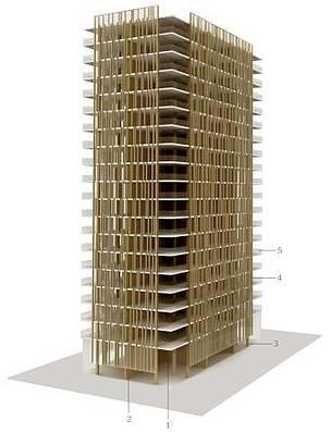 Projeto do arquiteto Michael Green, um dos mais influentes profissionais e advogar pelo uso responsável da madeira na construção