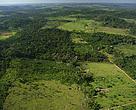 Vista aérea de fazendas de gado em Apiacás, Mato Grosso. Parque Nacional de Juruena, Brasil. Junho-Julho de 2006.